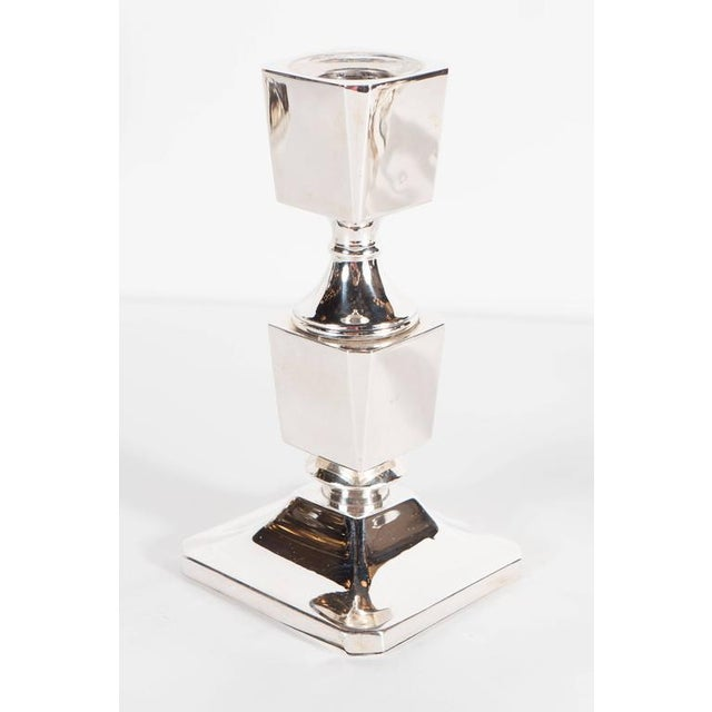 Art Deco Gorgeous Pair of Art Deco Customizable / Adjustable Sterling Silver Candlesticks For Sale - Image 3 of 11