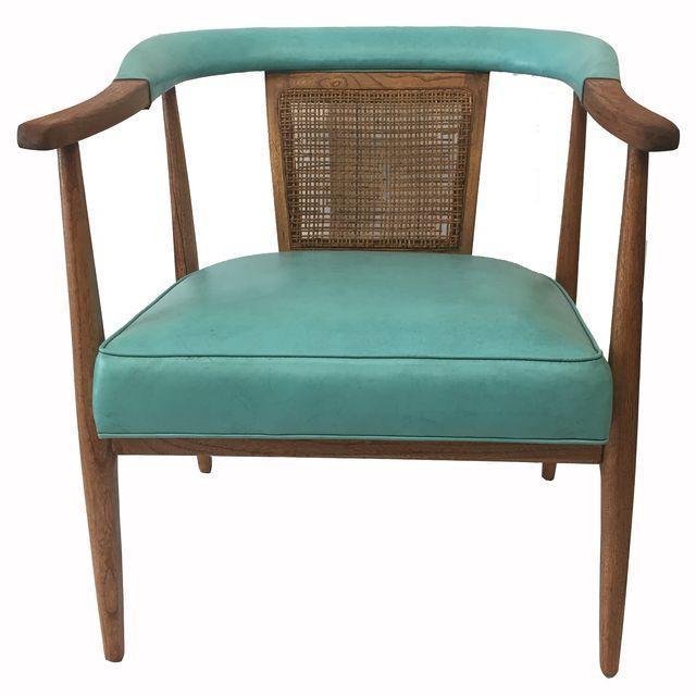 Vintage Mid-Century Teal & Oak Chair - Image 1 of 4