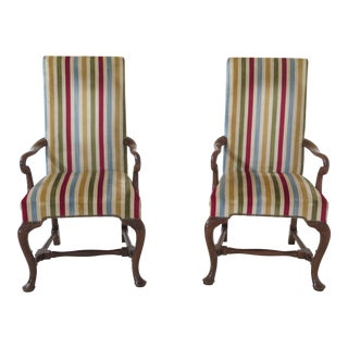 1970s Queen Anne Baker Striped Upholstered Cherry Armchairs - a Pair For Sale