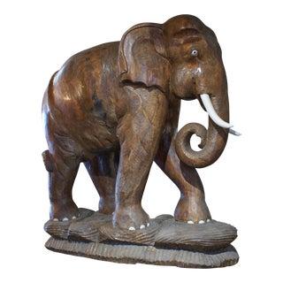 Large Carved Teak Elephant