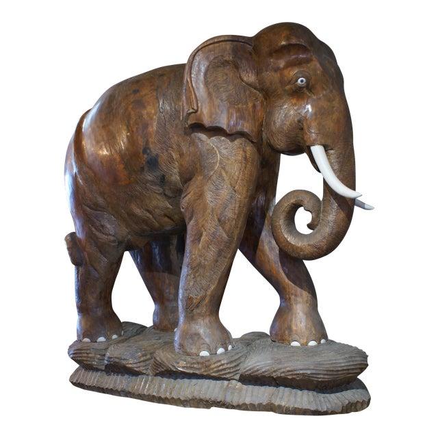 Large Carved Teak Elephant For Sale