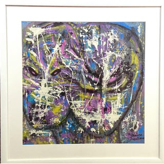 Muted Neon Modern Futuristic Framed Painting by Suga Lane For Sale