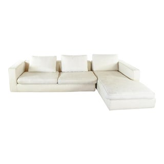 Camerich Mid Century Modern Style White Upholstered Sectional Sofa For Sale