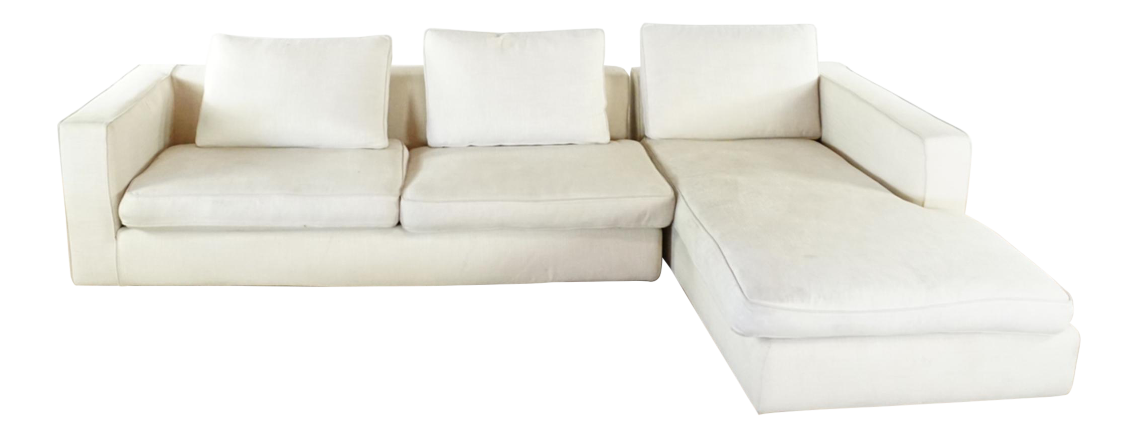 Camerich Mid Century Modern Style White Upholstered Sectional Sofa