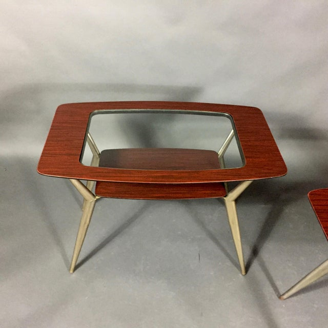 Pair of Atomic Metal and Glass Side Tables, Usa, 1970 For Sale In New York - Image 6 of 10