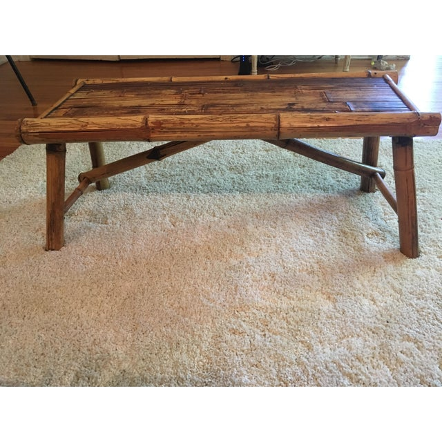 Vintage Bamboo Low Coffee Table - Image 3 of 5