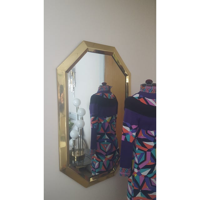 Mastercraft Mid Century Modernist Mastercraft Solid Brass Octagonal Mirror For Sale - Image 4 of 9