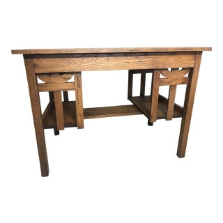 Mission Style Oak Writing Desk For Sale
