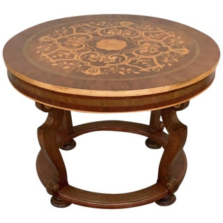 20th French Marquetry Round Center Table With Four Cabriole Legs For Sale