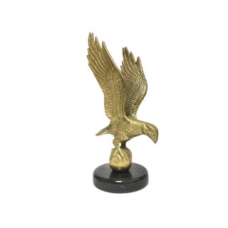 Brass Flying Eagle Holding a Globe on Marble Stone Base For Sale