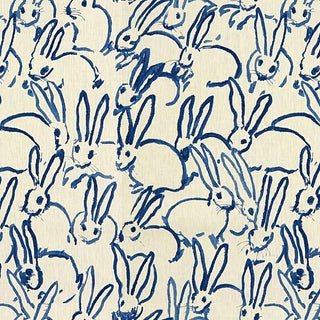 Hunt Slonem for Lee Jofa, Hutch Print Fabric, Navy, 1 Yard For Sale