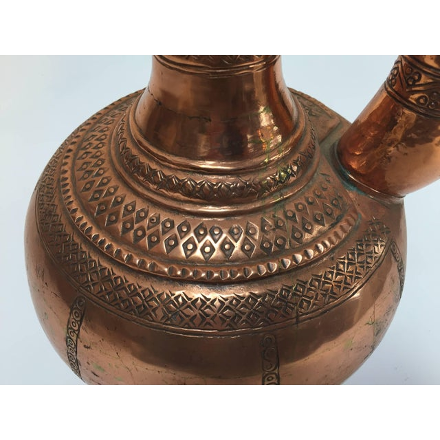 Copper Middle Eastern Turkish Ewer and Copper Basin For Sale - Image 7 of 11