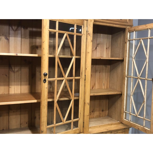 Gold Chippendale Solid Knotty Pine and Glass Breakfront Bookcase For Sale - Image 8 of 10