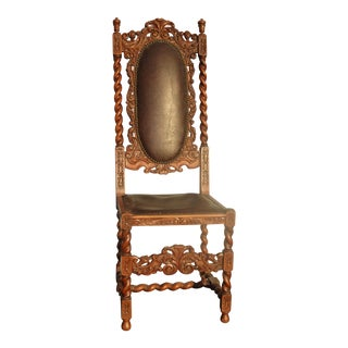 Vintage Spanish Style Barley Twist Throne Chair W Leather & Decorative Nails For Sale