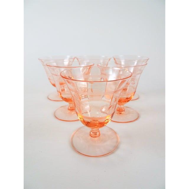 Early 20th Century Vintage Depression Era Etched Blush Pink Short Stem Glasses- Set of 6 For Sale - Image 4 of 8