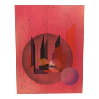 "Late 20th Century K. Pardie ""Abstract Red Circles"" Limited Edition Signed & Numbered Print For Sale"