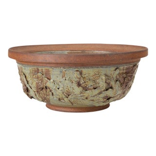 Ed Drahanchuk Appliquéd Stoneware Bowl For Sale