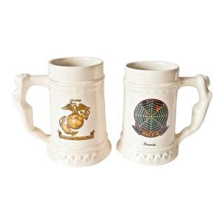 Vintage u.s. Marine Corps Beer Steins - a Pair