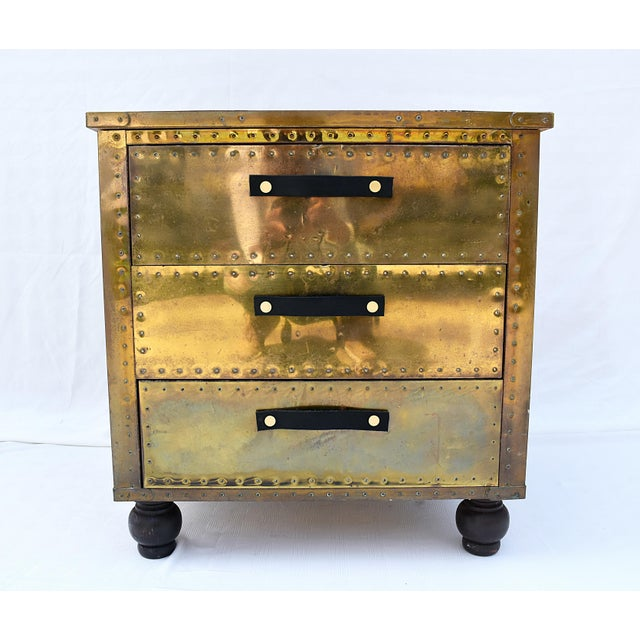 Gold Sarreid Brass 3-Drawer Chest For Sale - Image 8 of 8