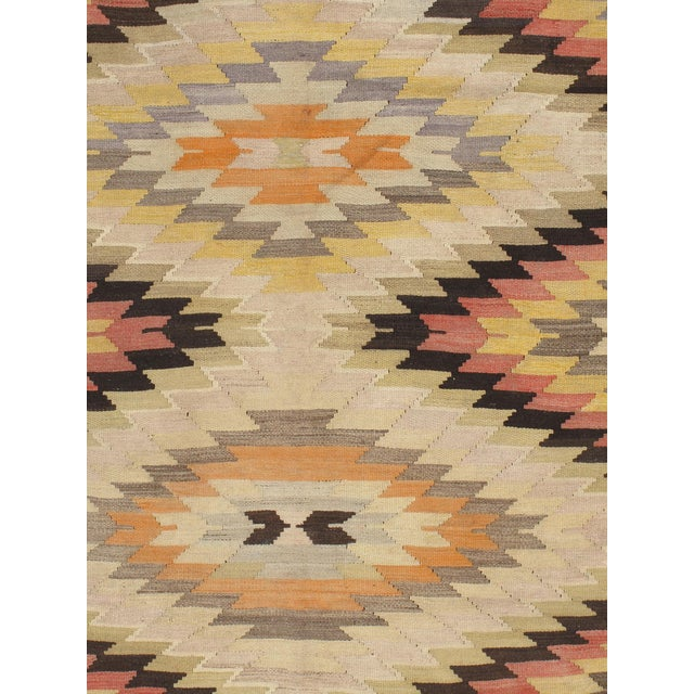 Vintage 1950s Turkish handwoven flat-weave kilim rug.