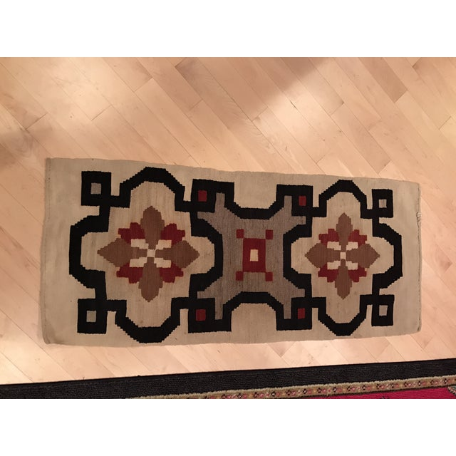 Vintage Woven Kilim Aztec Throw Rug or Wall Hanging - 1′12″ × 4′4″ - Image 2 of 7