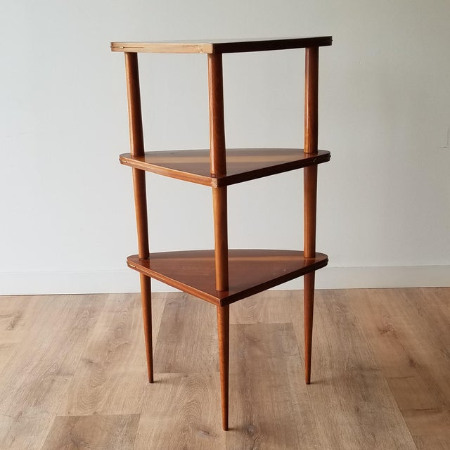 Mid 20th Century Italian Mid-Century Modern Corner Three Tiered Shelf For Sale - Image 4 of 12