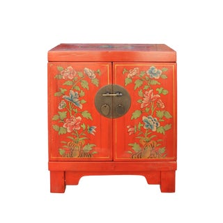 Chinese Oriental Distressed Orange Red Flower End Table Nightstand For Sale