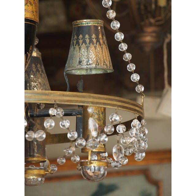 French 18th Century French Tole and Crystal Chandelier For Sale - Image 3 of 11