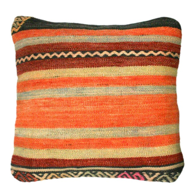 Boho Chic Rug & Relic Black & Orange Kilim Pillows - A Pair For Sale - Image 3 of 3