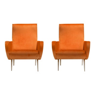 1950s Marco Zanuso-Style Orange Velvet Arm Chairs - a Pair For Sale