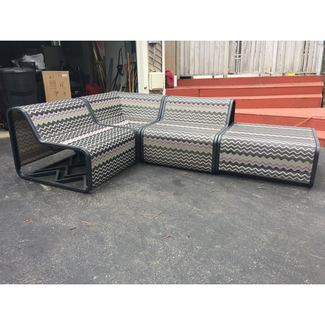 Mid-Century Modern Missoni Sling Sectional Patio Furniture - 4 Pieces For Sale - Image 3 of 6