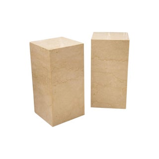 Pair of Polished Travertine Pedestal Side Tables, French