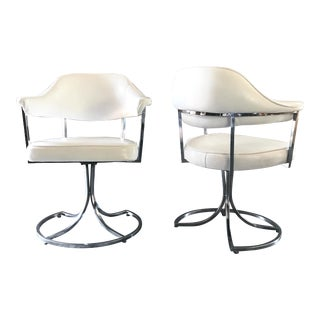 1960s Mid Century Modern White Vinyl and Chrome Arm Chairs - a Pair
