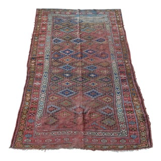 Distressed Kurdish Persian Geometric 5x8 Rug Multicolored For Sale