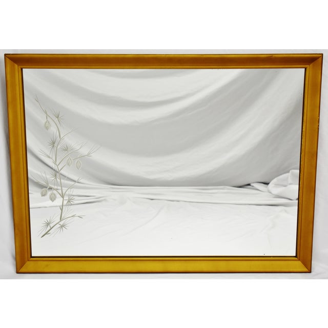 MCM Gold Gilt Framed Etched Glass Wall Mirror For Sale - Image 12 of 13