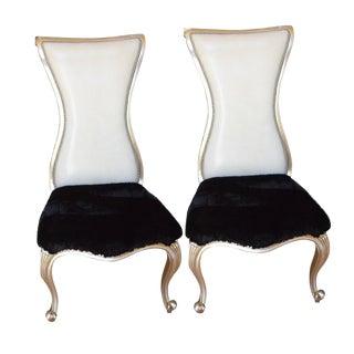 Showstopper Modern Alden Parkes Designer Custom High Back Chairs- a Pair For Sale