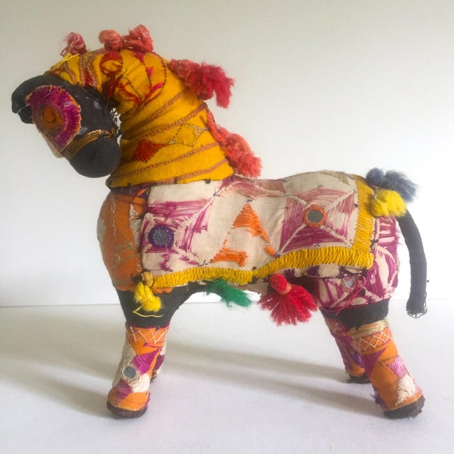 This vintage Mid Century Indian handmade multicolor fabric patchwork Indian horse figurine is a very special and unique...
