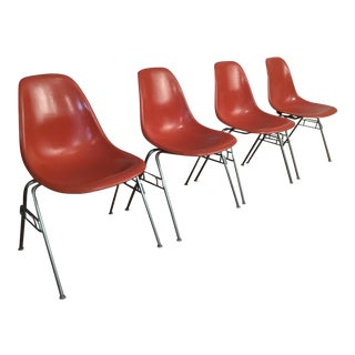 Vintage Mid Century Charles Eames for Herman Miller Dss Orange Fiberglass Stacking Chairs - Set of 4 For Sale