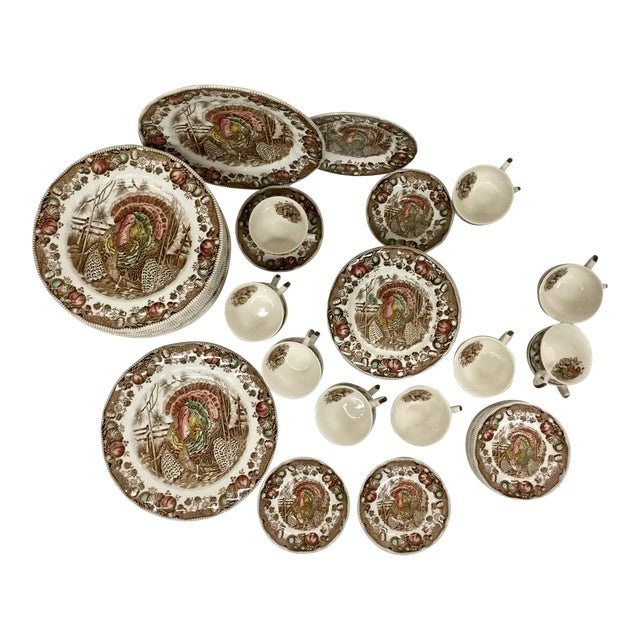 Johnson Bros His Majesty Turkey Dinnerware - Set of 71 For Sale