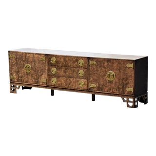 "102"" Mastercraft Burl and Brass Long Credenza For Sale"