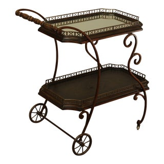 Maitland Smith Quality Wrought Iron 2 Tier Server, Tea, or Bar Cart Trolly For Sale