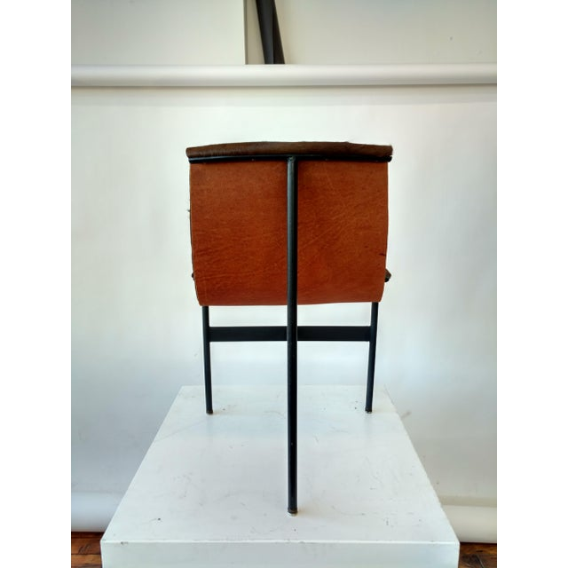 Metal and Leather Sling Zaha Chair - Image 3 of 5