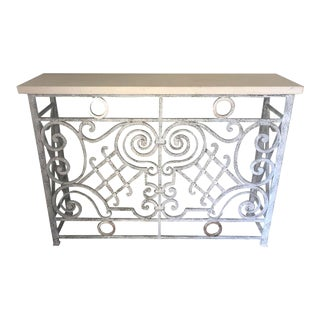 Grey and Silver Painted Vintage Iron Console For Sale