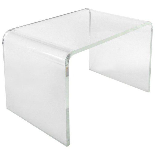 Transparent 1970s Mid-Century Modern Lucite Waterfall Side Table For Sale - Image 8 of 8