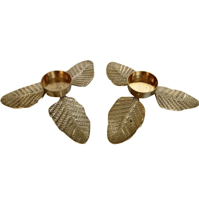 Brass Leaf Votive Candle Holders - A Pair - Image 1 of 4