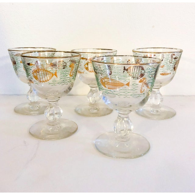 Midcentury Modern Cocktail Glasses With Ocean & Sea Life Design - Set of 5 For Sale In Portland, ME - Image 6 of 6