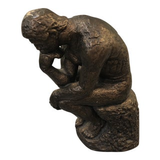 Bronze Coated Plaster Sculpture After The Thinker For Sale