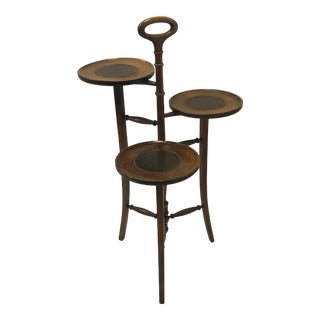 3 Tier Side Table Made of Walnut and Leather For Sale