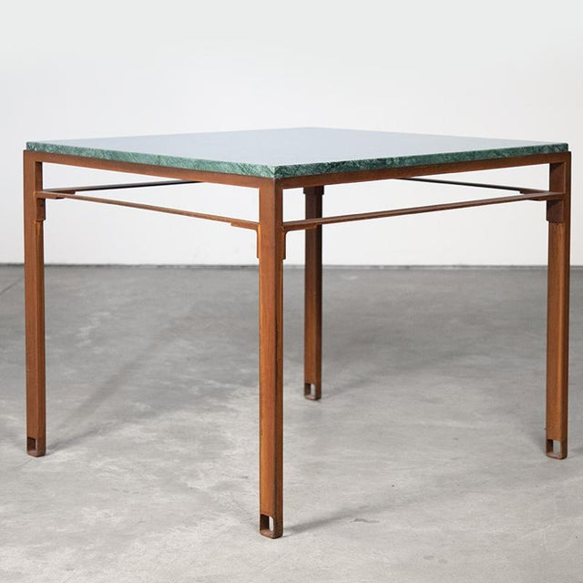 Contemporary Oxidized Steel and Emerald Green Marble Top Squares Table For Sale In New York - Image 6 of 6