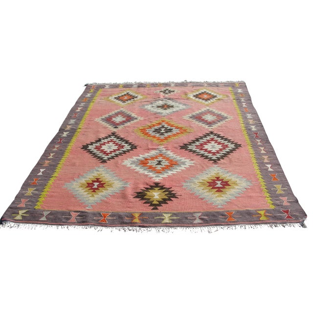 Vintage Turkish Kilim Rug - 6′5″ × 8′9″ For Sale